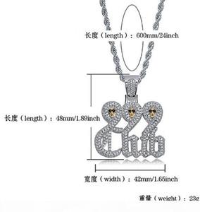 K Branco crânio do ouro 999 Clube colar de pingente com 60 centímetros Cadeia Rope Colar de alta qualidade Cubic Zirconia Hip Hop Jewelry.