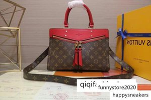 M44195 Popincourt New Fashion Vermelho Brown Handbag Mulheres Hobo Bolsas Top Alças Boston Corpo Cruz do Messenger Bolsas de Ombro