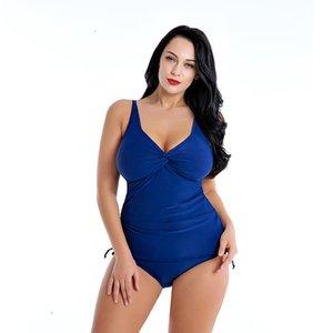 Add Cup Big Size Breast Women V Neck Sling Swimwear One Piece Plus Size Swim Suit