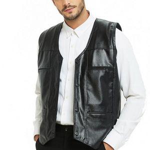 Männer Pelz Faux Winter Männer Lederwesten Ärmellose Jacken PU Streetwear Punk Taschenknopf Schwarz Motorrad Weste Plus Größe