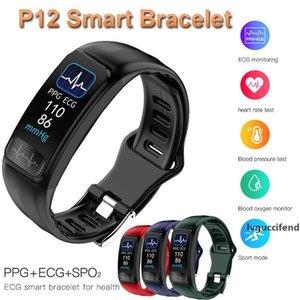 P12 EKG PPG SPO2 akıllı bilezik kalp hızı, oksijen monitörü tansiyon akıllı kemer IP67 su geçirmez çağrı hatırlatma spor Band vantilatör