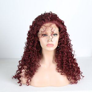 Hot Sexy Burgundy Red Kinky Curly Lace Front Wig With Baby Hair Heat Resistant Glueless Synthetic Lace Front Wig for Black Women