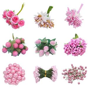 1set Supplies dono tecnologia mista rosa artificiale Stame Cherry bacche Bouquet per matrimonio Decorazioni di Natale fai da te Corona
