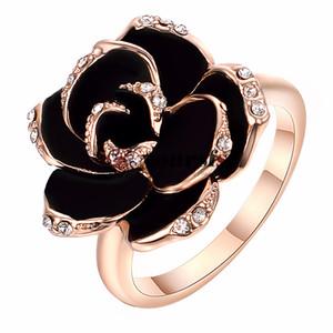 Yoursfs Classic Big Black Rose Anillos de Flor 18 K Oro Rosa Plateado CZ Crystal Princesa Grande Art Deco Anillos para Mujeres Noble Joyería de Moda