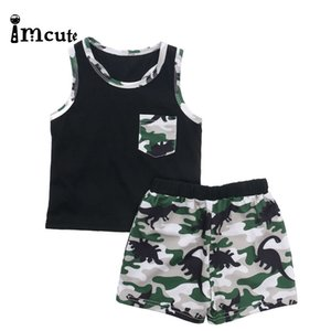 Imcute 2020 Summer Boys Clothes Set Toddler Boy Vest Sport Set Kids Outfits Clothing Camouflage Shorts Two-piece Pajamas Suit