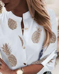 Yeni Moda Bayan Giyim Kadın Standı Yaka Uzun Kollu Gömlek Ofisi Casual Gömlek Bayan Drop Shipping Tops