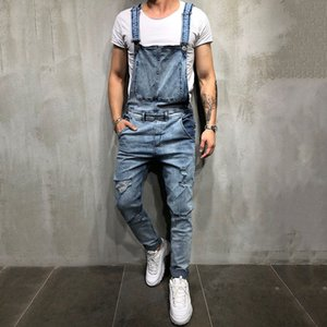 2020 Fashion Mens Ripped Jeans Jumpsuits Street Distressed Hole Denim Bib Overalls For Men Suspender Pants 3 Colors Size S-3XL