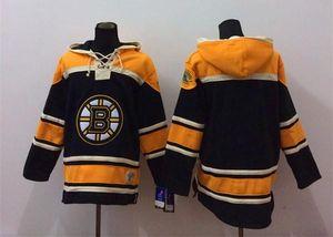 2015 Yeni Toptan erkek Boston Bruins Boş Siyah Kapüşonlu Formalar Hokey Hoodies Tişörtü