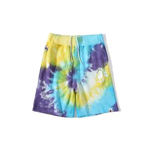 Nuovo arrivo Tie-dye uomo Gradient stampati i pantaloni casuali dei pantaloni di bicchierini Lettera Donne Uomini Stampa allentati di Hip Hop Grey Camo Beach Shorts