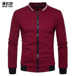 Wine Red Bomber Jacket Men 2020 Brand New Lightweight Zip Up Baseball Jacket моды Алмазный плед Argyle Varsity Men / Boy