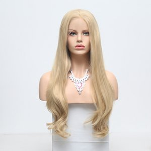 Wholesale Cheap Blonde Wig Long Body Wave Synthetic Hair Lace Front Wig With Baby Hair Heat Resistant Fiber Hair For Women