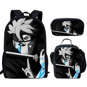 20 New Hot Boruto Naruto Boys School Bolsas 3pcs / set infantil Mochila Student Satchel dos desenhos animados Anime Escolar para Crianças Book Bags