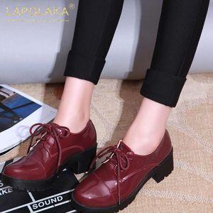 Lapolaka 2020 Sıcak Satış Büyük Beden 43 Kalın Topuklar Ofisi Bayanlar Kadın Ayakkabı Lace Up Platformu Rahat Soyunma Ayakkabı pompaları