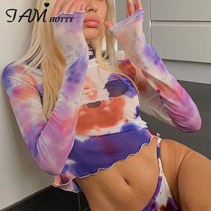 IAMHOTTY 90s Estetik Batik Kadın Giyim Sonbahar Uzun Kollu Kıyafetler Streetwear Croped En Harajuku E Kız Sevimli Tee yazdır