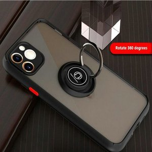 For Iphone 11 Ring Stand Cover Soft TPU PC Scrub Translucent Phone Case Fo Iphone 11 Pro Max XS XR X 7 8 Plus Samsung S20 A51 LG Stylo 6 K51