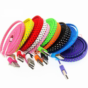 fabric flat noodle usb data charging cable 1m 2m 3m micro v8 5pin Type C usb cable for samsung s4 s6 s7 edge s8 for htc lg g5