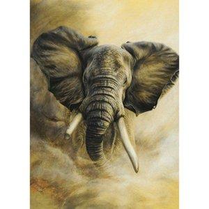 Elephant Head Full Drill 5D Diamond Round Rhinestone Embroidery Painting DIY Cross Stitch Kit Mosaic Draw Home Decor Art Craft Gift
