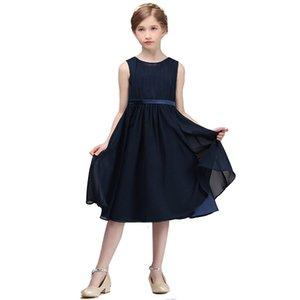 Lovey Elegant Chiffon Princess Flower Girl Dresses 2020 Ball Gown First Communion Dresses For Girls Sleeveless Tulle Toddler Pageant Dresses