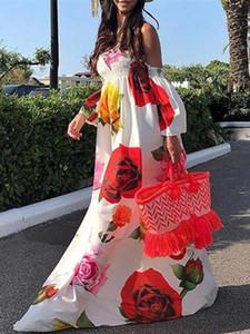 VONDA del verano del vestido de Bohemia 2020 mujeres de la playa atractiva del hombro de la impresión floral largo maxi vestidos Vestidos de vacaciones más el tamaño