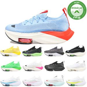 Zoom Alphafly Next% Yakınlaştırma Alfa Sonraki% chaussures Siyah Beyaz Buz Mavisi Gri Çam Yeşil Sarı Hız Sneakers maraton Platformu Koşu Koşu ayakkabıları