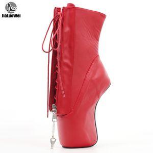jialuowei 18CM tacco alto Hoof Heelless Ballet Scarpe a punta sexy con serratura a cerniera Caviglia Donne Stivali unisex Plus Size 36-46 Y200723