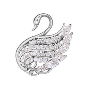 Brooches For Women Fashion High Quality 18K Gold Plated Zircon Swan Brooch Pins Jewelry Wholesale Free Shipping TB006