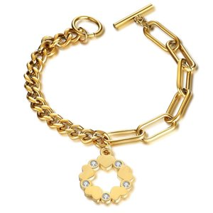 New Fashion Gold Plated OT Titanium Stainless Steel Unisex Cuban Link Chain Toggle Buckle Bracelets Chains Bracelet Jewelry Gifts for Lovers