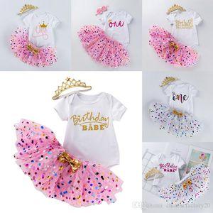 INS Baby Tutu Dot Skirt With Bow & Romper & Crown Headband 3pcs set Girls Birthday Photography Dress Kids Halloween Princess Party Clothe