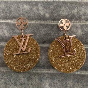 Neue Frauen Schmuck V Brief vier Blatt-Blumen-Edelstahl-Ohrringe klassischer Entwurf Black Rose Goldband-Gold überzogener Ohrstecker Großhandel