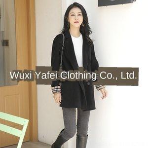 Dan Yafei suéter de lana de cachemira suéter nueva capa de doble cara de manga corta capa de desgaste de las articulaciones de las mujeres de lana