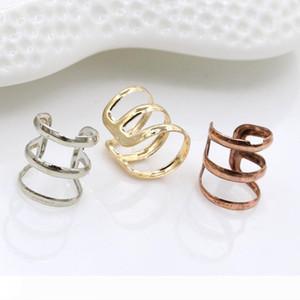 Clip Earrings Punk Gold Sliver Bronze Plated Chain Charms Ear Clips Metallic Ear Wrap U Shape None piercing Ear Cuff Earing Jewelry 3 Colors