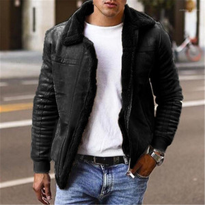 Hommes Manteaux Thicken Lapel manches longues Vestes Homme Solid Color Hommes Outerwears avec Taille Zipper hiver plus