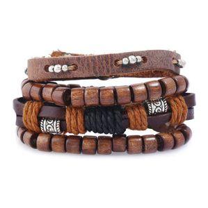 Hot sale 100% genuine leather bracelet DIY Multiple Wood Bead wax rope Beading Men's Combination suit Bracelet 4styles 1set