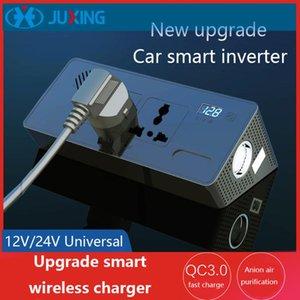 Juxing de energía del cargador del coche 12V / 24V a 220V multifunción con adaptador de carga QI + 2 Salida de CA + CC + 3.0 Tipo C Puertos USB + 2.4A