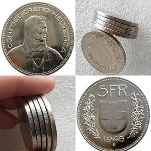 Unc 1948 Switzerland Argento (confederazione) 5 franchi (5 Franken) Ottone nichelato Diametro Copy Coin: 31,45 millimetri hotstore2010 MYbqM
