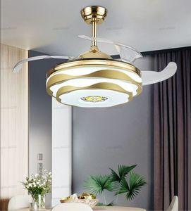 """Plafond Modern Fan Musique LED avec un téléphone mobile Bluetooth Remote Control APP Ventilateurs de plafond 42"""" Invisible Chambre Décor lampe LLFA"""