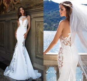 2021 Couture Beach Mermaid Wedding Dresses Sexy Jewel Neck Lace Stain See Through Bohemian Fishtail Bride Wedding Gown Robes