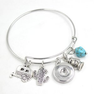 New Arrival Wholesale 18mm Snap Jewelry Camping Trailer Bracelet Adjustable Wire Bangle Snap Bracelets for women gifts