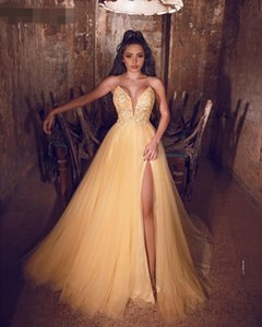 Sexy Gold Prom Dresses 2020 A-Line sexy side Slit V-Neck Sleeveless Tulle Appliques robe de soiree Prom Gown Long Formal Evening Party
