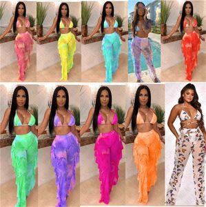 Tie maille colorant concepteur femmes maillot de bain maillot de bain poussée d'impression numérique en licou soutien-gorge + pantalon 2 pièces bikini ensemble survêtement sexy de D7614