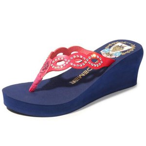 Wedges Slippers Women's Summer shoes Casual Rhinestone platform Slippers Anti-Slip Open Toe Beach Shoes Zapatos Mujer sh487