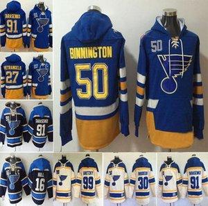 Trasporto veloce St. Louis Blues Uomo 50 Binnington 27 Alex Pietrangelo 91 Vladimir Tarasenko 16 Brett Hull 99 Wayne Gretzky con cappuccio Jersey
