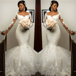 Gorgeous Sweetheart Appliques Mermaid Wedding Dresses Long-Sleeves Lace Bridal Gowns On Sale plus size wedding Gowns Vestidos De Novia