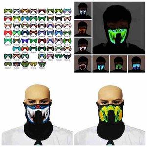 61 Estilos de Halloween Máscaras EL Mask flash LED com música por Dança máscara Voice Control equitação de patinagem do partido máscaras do partido ZZA2454