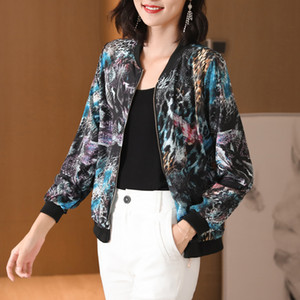 2020 New Summer Jacket Women Print Basic Jacket Thin Long Sleeve Casual Female Bomber Baseball Zipper Sunscreen Outwear