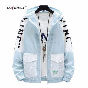 Lusumily Pocket Zipper Woman Jacket Thin Coats Print Letter Casual Streetwear Recreation Tops Female Windbreaker Girl Beachwear