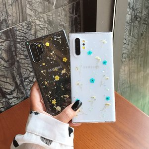 Fashion Specimen Flowers Bling Dried Flowers Silicone Phone Case For Samsung S9 Plus S10E Note 8 9 10 Plus Transparent TPU Cover