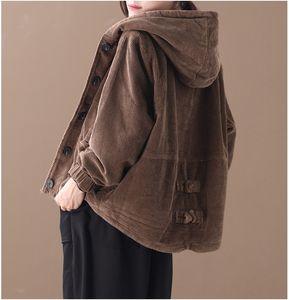 Corduroy Women Jacket 2020 Autumn Winter Hooded Single Breasted Solid Color Pockets Loose Women Coat YoYiKamomo