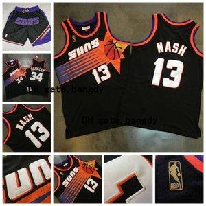 Mitchell&Ness Vintage PhoenixnbaSunsThrowback Steve 13 Nash Charles 34 Barkley Mesh Embroidery Stitched Basketball Jerseys
