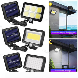 Solar Security Lights Motion Sensor 56 100 120LED Outdoor 5M Wire Waterproof For Outdoor Street Wall Lights Garden Yard Garage DHL